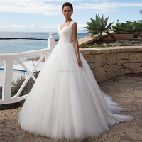Ball Gown Tulle Wedding Dresses 2020 Illusion Sweetheart Lace Appliques Straps Wedding Bridal Gowns with Beaded Sash Vestidos