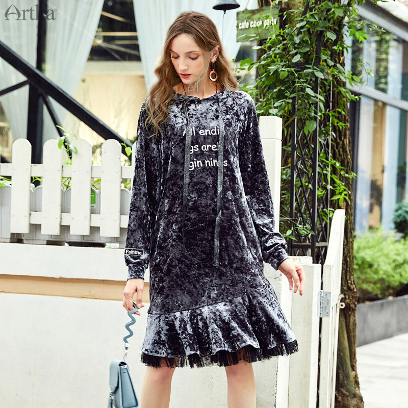 CLEARANCE ARTKA Autumn Winter Fashion Velvet Stitching Mesh Exquisite Embroidery Hoodies Sweatshirt Ruffled Dress VA10086Q