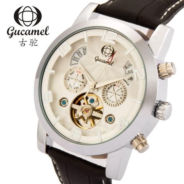 Gucamel Luxury Brand Fashion Men Military Sports Watch 30M waterproof calendar business leather machinery stainless steel watch