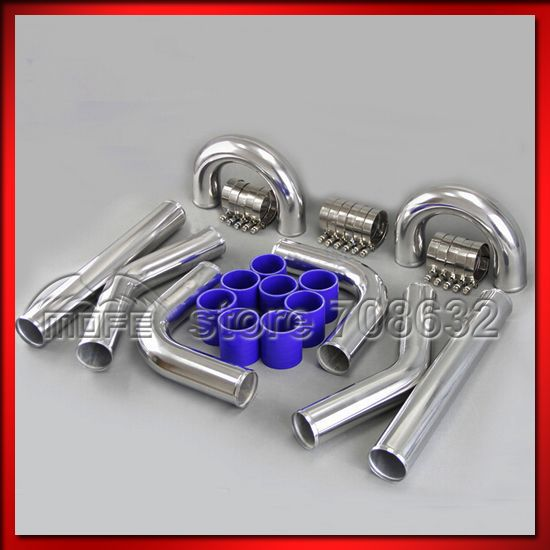 Univesal Turbo Chrome 2.25 57mm Aluminum Intercooler Piping Pipe + T Clamp + Silicone Hoses Kit