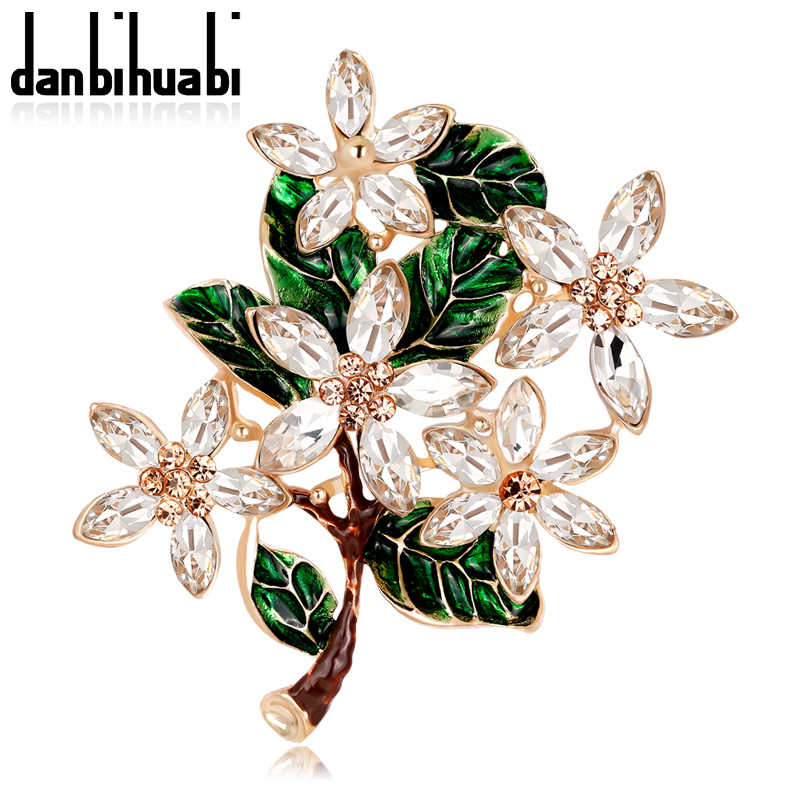 cecea3680 Fashion Leaves Flowers Crystal Enamel Pins and Brooches for Women Wedding  Bouquets Gold-color Brooch
