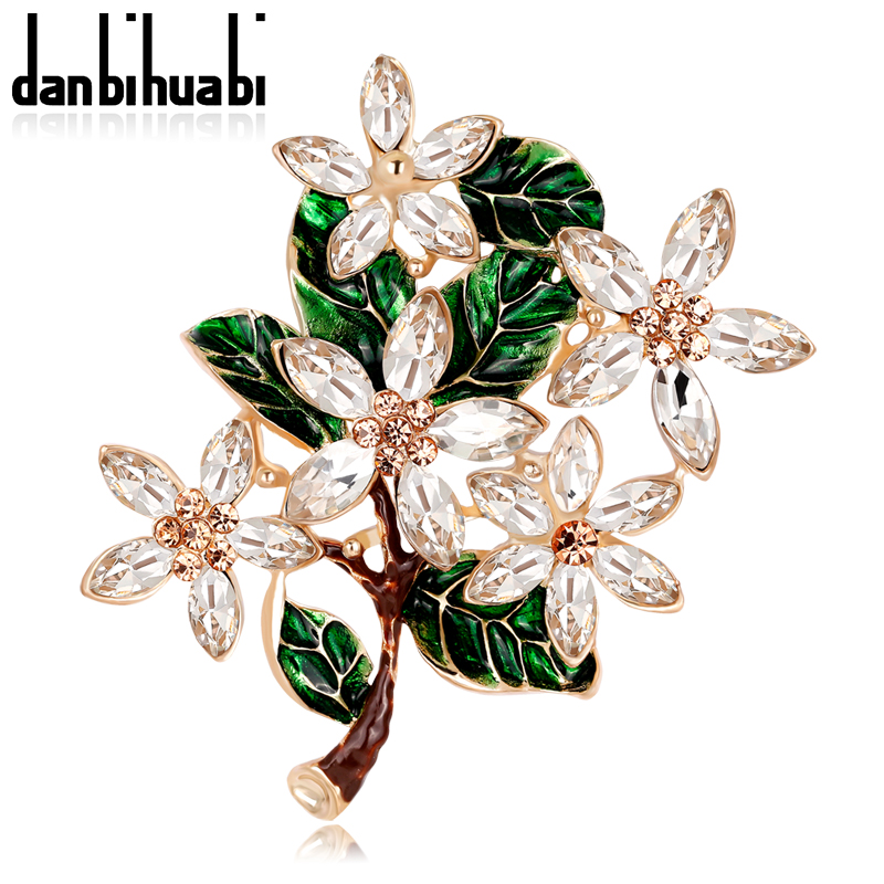 Colorful Crystal Flower Rhinestone Brooch Pin Women DIY Bouquet Wedding Jewelry