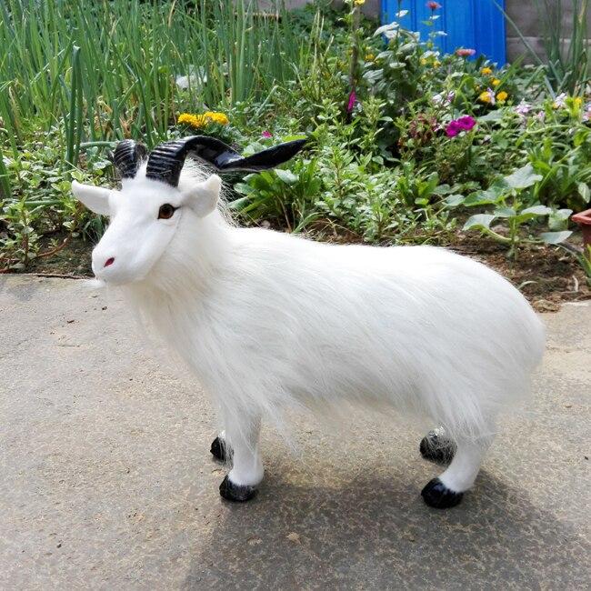 Big simulation blanc moutons jouet réaliste Poilu moutons modèle poupée environ 40x26 cm a08