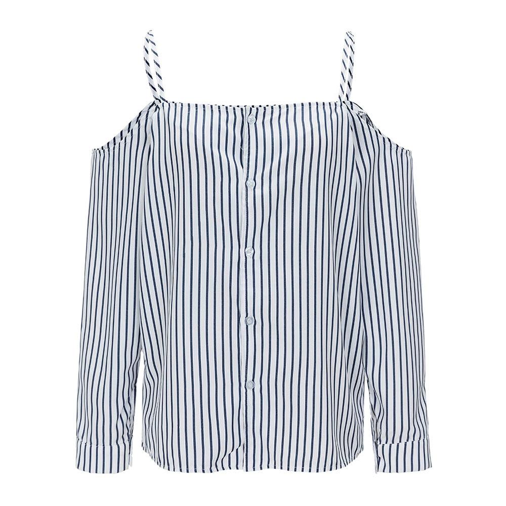 white blouse shirt blue fashion Women Tops and Blouses slash neck femme office elegant plus size striped women blouse shirt