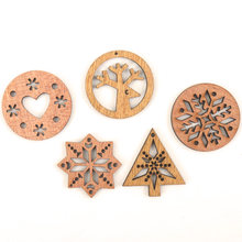 Wooden Christmas Tree Snowflake Deer Heart Pattern Scrapbooking Craft Handmade Accessory Home Decoration DIY 30mm 10pcs(China)