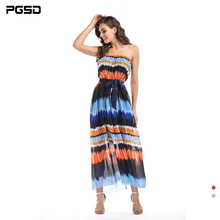PGSD Spring Summer Fashion Big size Women Clothes Elegant Wrap chest Gradient color Sleeveless Beach Chiffon Dress female 6XL