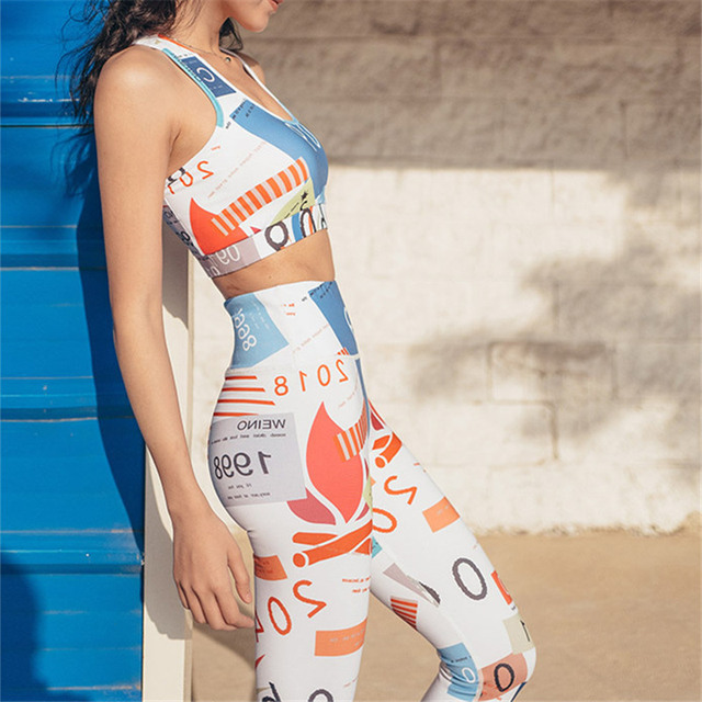 2pcs Printed Colourful  Workout and Yoga Set