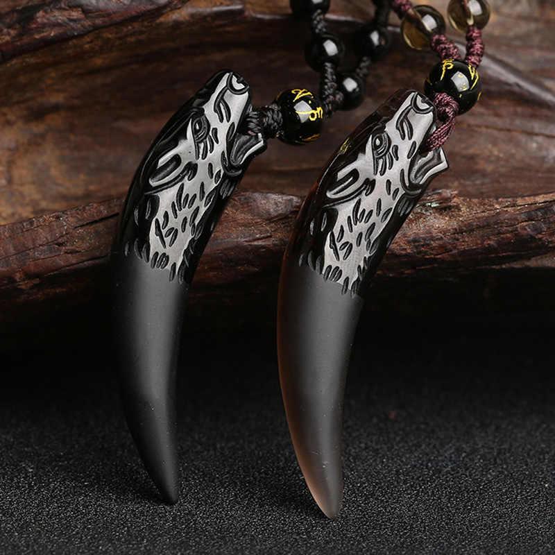 Naturalny kamień czarny i lód wisiorek obsydianowy naszyjnik wilk ząb amulety i talizmany naszyjnik dla par dla kobiet i mężczyzn