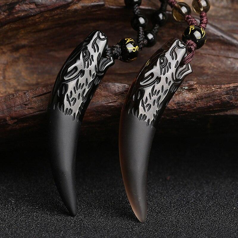 Piedra Natural y Negro hielo obsidiana COLLAR COLGANTE Lobo diente amuletos y talismanes collar pareja para las mujeres y los hombres