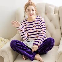 2017 Spring Winter Thick Coral Fleece Woman Pajamas Sets Sleep Tops Bottoms Long Sleeve Female Cartoon