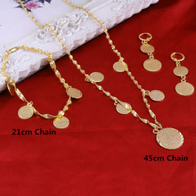 BangruiBraceletNecklaceEarrings set Islamic Muslim Arab Coin Money Sign Women Gold Color Filled Middle EasternAfrica Jewelry