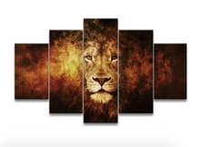 5 Piece Oil Painting Free Shipping Lion Art Canvas Wall Hanging Art Lion King Picture Landscape Modern Living Room Home Decor