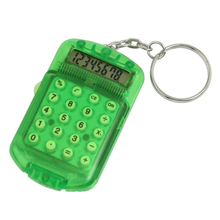 GTFS-New Clear Green Hard Plastic 8 Digits LCD Display Electronic Mini Calculator w Keychain