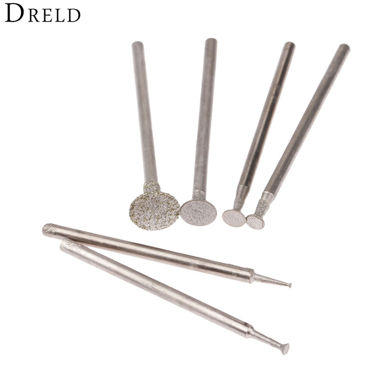 DRELD 6PCS C2 2.35mm Diamond Grinding Head Jade Pound Mound Carving Word Jade Tools Needle Agate Engraving Tool 1/2/3/4/6/8MM