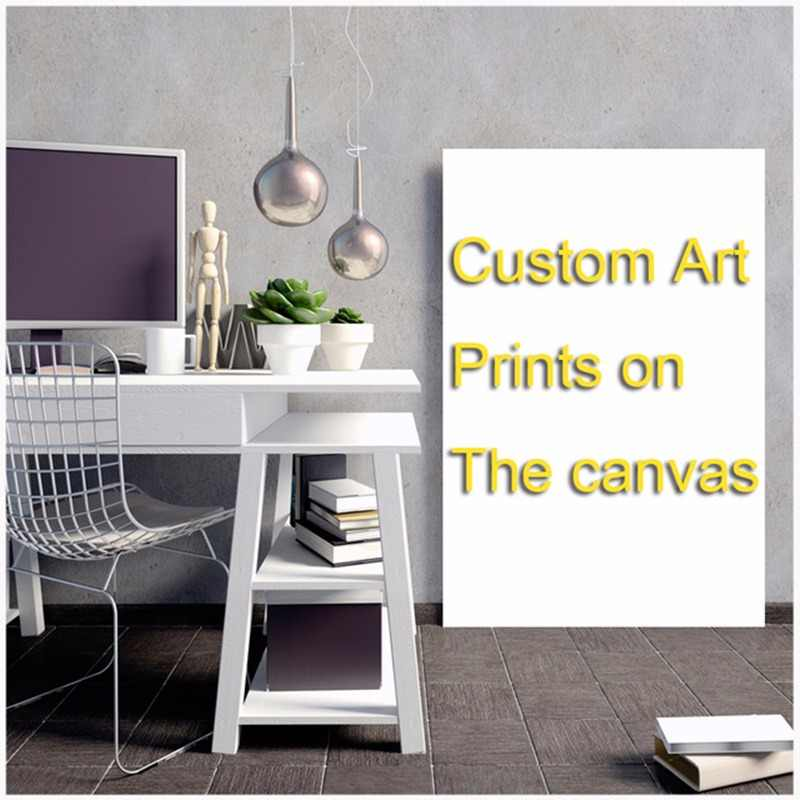 custom-made canvas poster painting giclee art print poster baby room white and black hand painting schilderen op nummer cactus