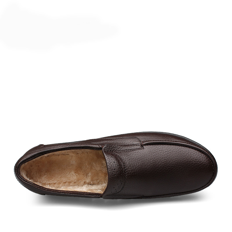 Cuir Taille Neige Black Plat Slip Hommes Grand Noir Casual Sur brown Véritable En Chaud Chaussures Nouveaux Entraînement Fourrure Mocassins HaBExx