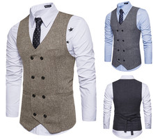 Vintage Brown tweed Vests Wool Herringbone British style Mens suit tailor slim fit Vest