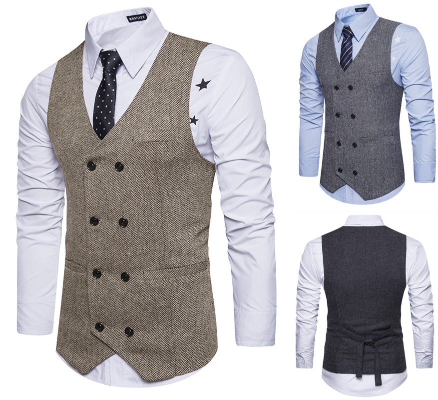 Vintage Brown tweed Vests Wool Herringbone British style Mens suit tailor slim fit Vest