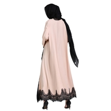 Adult Lace Patchwork Apricot Cardigan Islamic Clothing Female Fashion Dubai Abaya Muslim Abaya Kimono Prayer Service Clothing