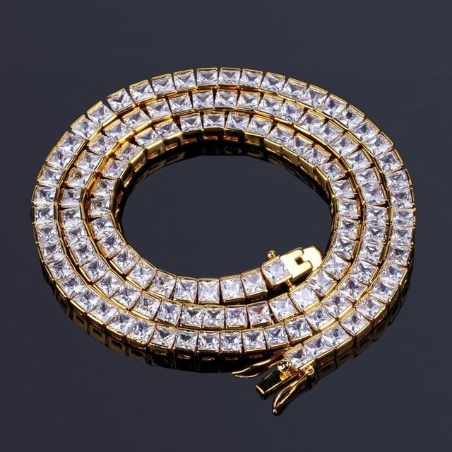 """TOPGRILLZ الذهب والفضة اللون مثلج خارج 1 صف 6 مللي متر مايكرو تمهيد تشيكوسلوفاكيا حجر قلادة 18 """"22"""" طول صندوق سلسلة الهيب هوب مجوهرات للرجال"""