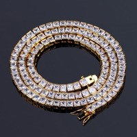 TOPGRILLZ Gold&Silver Color Iced Out 1 Row 6mm Micro Pave CZ Stone Necklace 18 22 Length Box Chain Hip Hop Jewelry For Men