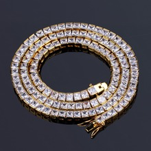 """TOPGRILLZ Gold&Silver Color Iced Out 1 Row 6mm Micro Pave CZ Stone Necklace 18"""" 22"""" Length Box Chain Hip Hop Jewelry For Men"""
