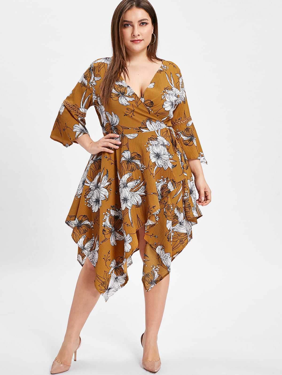 deee331916 Wipalo Women Flare Sleeve Plus Size Floral Print Wrap Dress Plunging Neck  3/4 Length Sleeves Asymmetrical Casual Dress Vestidos