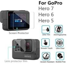 VSKEY 100 pièces verre trempé pour GoPro Hero 7 6 5 caméra LCD protecteur décran + capuchon dobjectif Film de protection pour Hero 5/6/7
