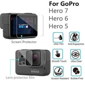 Image 1 - VSKEY 100PCS מזג זכוכית עבור GoPro גיבור 7 6 5 מצלמה LCD מסך מגן + עדשת כובע מגן סרט עבור גיבור 5/6/7
