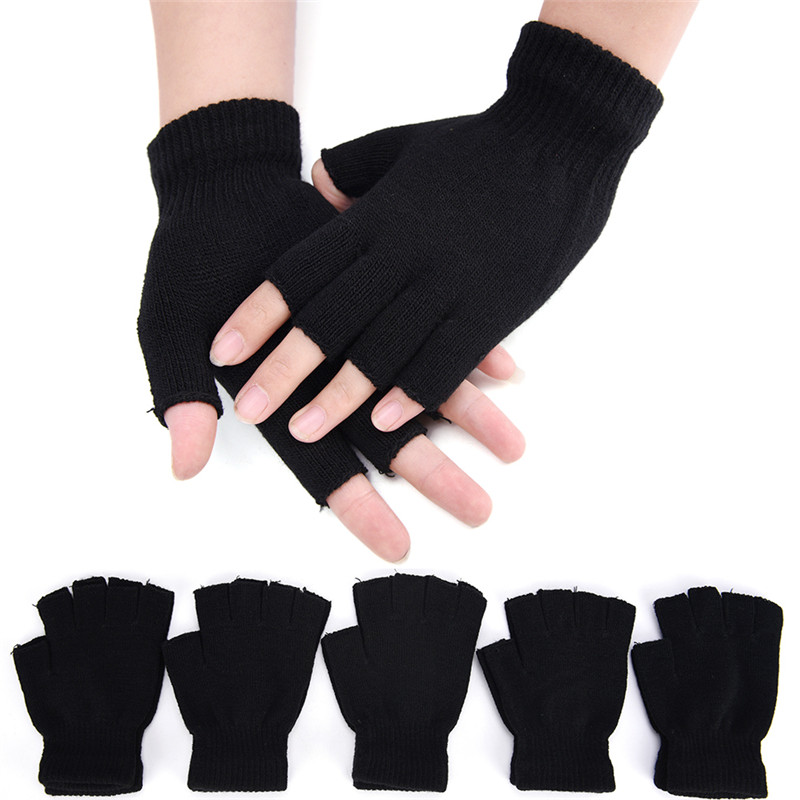 Fashion Black Short Half Finger Fingerless Wool Knit Wrist Glove Winter Warm Workout For Women Men