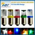 200 piece sem cintilação Pinball pinball LEVOU luzes led de 6.3 Volts Lâmpadas de Substituição #44 #47 ba9s Concave 906 Wedge Base De anti fantasma