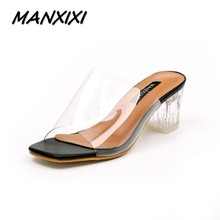 MANXIXI Новых женщин на высоких каблуках сандалии обувь женщина Прозрачный кристалл толстые каблуки дамы ретро моды star сандалии размер 35-39