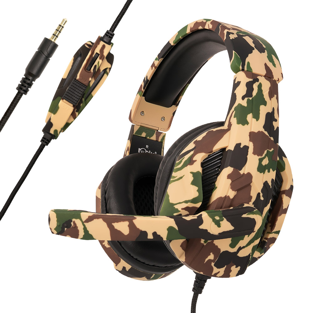 ChonChow Gaming Headset Wired Camouflage Earphone Game Headphone with Microphone Stereo Sound Bass for PC Gamer/Laptop/Phone/PS4