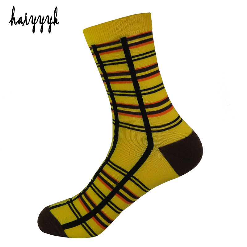 2017 New Combed cotton brand mens socks lattice colorful dress socks men happy sock meias high socks wholesal size 38-45