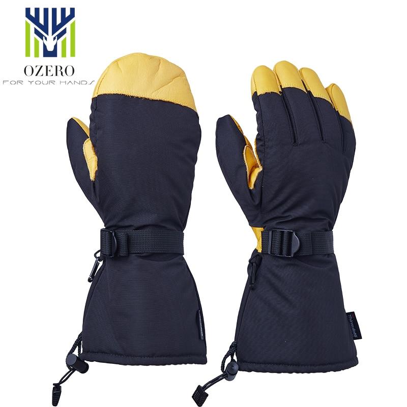 OZERO Men's Ski Gloves Snowboard Gloves Snowmobile Motorcycle Riding Winter Gloves Windproof Waterproof Unisex Snow Gloves 9008