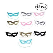 12Pcs Face Masks Performance Carnival Chritmas Masquerade Sequin Party Masks Props with Elastic Head Bands(China)