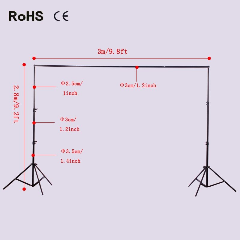 2.8m*3m/9.2ft*9.8ft Photo Video Studio Background stands Adjustable Photography Video Muslin Backdrop Support System Stands Set lightdow 2x3m 6 6ftx9 8ft adjustable backdrop stand crossbar kit set photography background support system for muslins backdrops