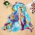 2016 Fashion Women Scarf Chiffon Tube Printed Floral Scarf Luxury Brand Designer Infinity Scarf Beach Shawl