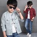Los Muchachos del niño del Otoño Coreano Color Sólido Gris Corto de Cuello de Pie de Algodón de Manga Larga Solo Breatsed Moda Chaqueta Outwear