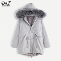 Dotfashion Faux Fur Hooded Shearling Lined Coat 2017 Grey Zipper Long Sleeve Top Female Single Breasted