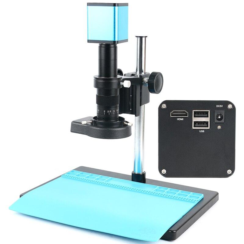 Version améliorée industrielle Autofocus Microscope caméra photo enregistrement vidéo 120X/180X c-mount lentille + support + 144 LED anneau lumineux