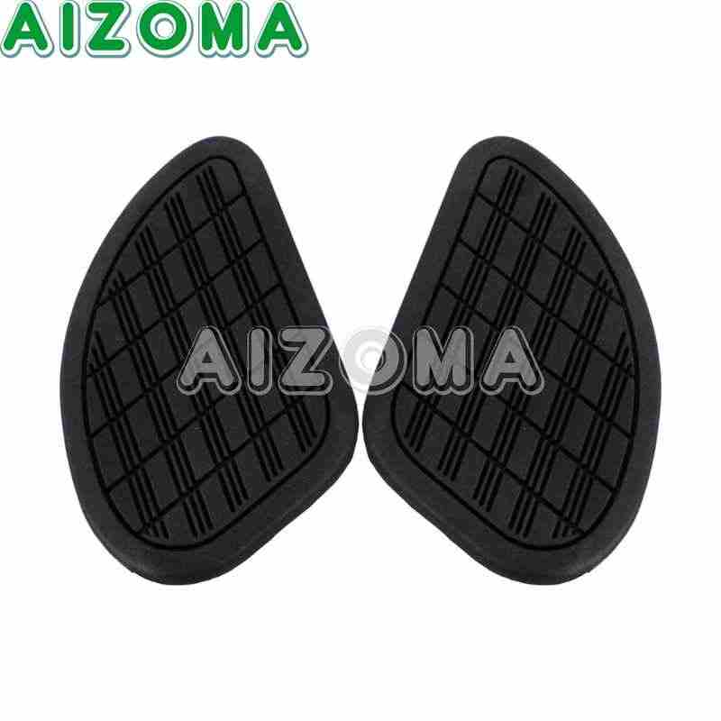 Universal Protector 2pcs Black Brown Vintage Gas Tank Knee Pad Rubber  Modified Sticker Decals Side Panels Traction Pad