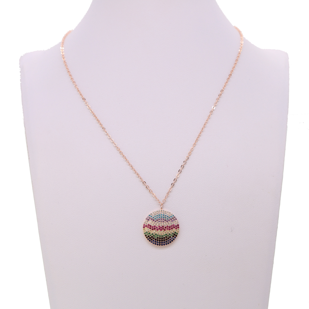 fashion-rose-gold-color-necklace-with-rainbow-cz-paved-round-pendant-classic-disc-colorful-cz-charm (1)