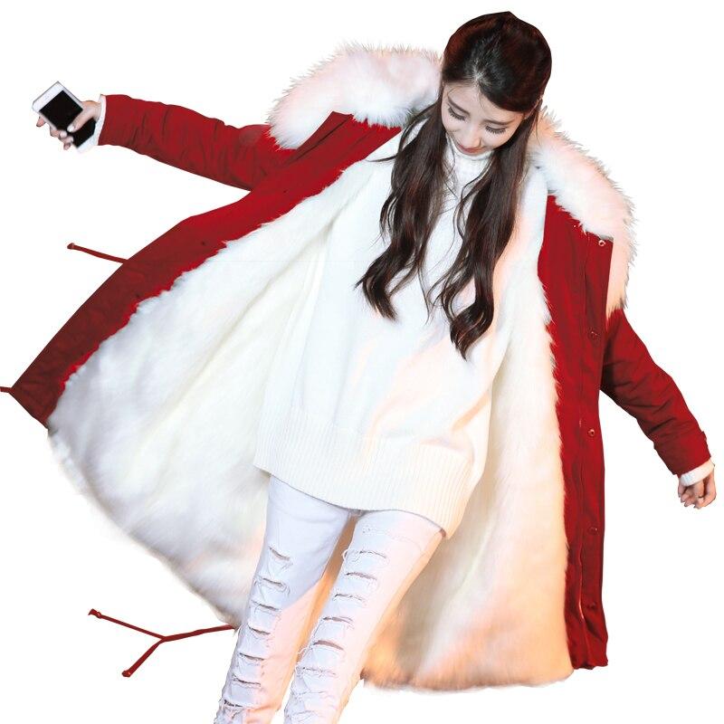 Брендовая зимняя куртка Для женщин длинные большой натуральный съемный енота меховой воротник с натуральным мехом пальто Толстые Обувь на