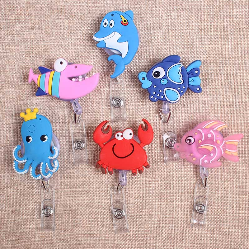Cartoon Cute Colors Sea Fish Styles Clown Retractable Creative Badge Card Holder Reel Nurse Exhibition Enfermera Name Card Chest
