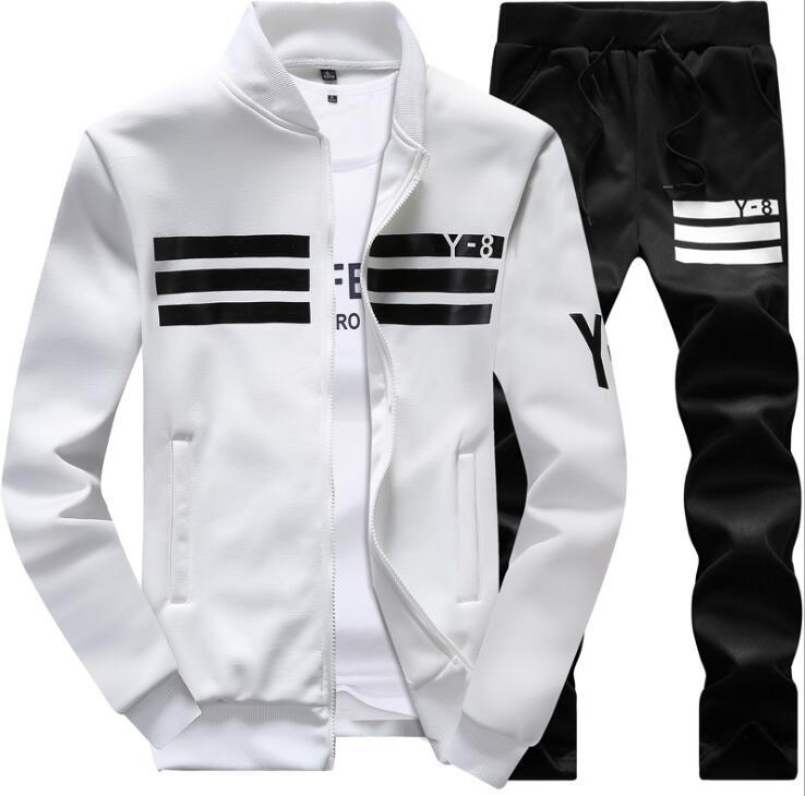 Men's Sportwear Suit Sweatshirt Tracksuit Track Active Suit Zipper Outwear 2PC Jacket Coat Pants Trousers Sets Outfits Blazer