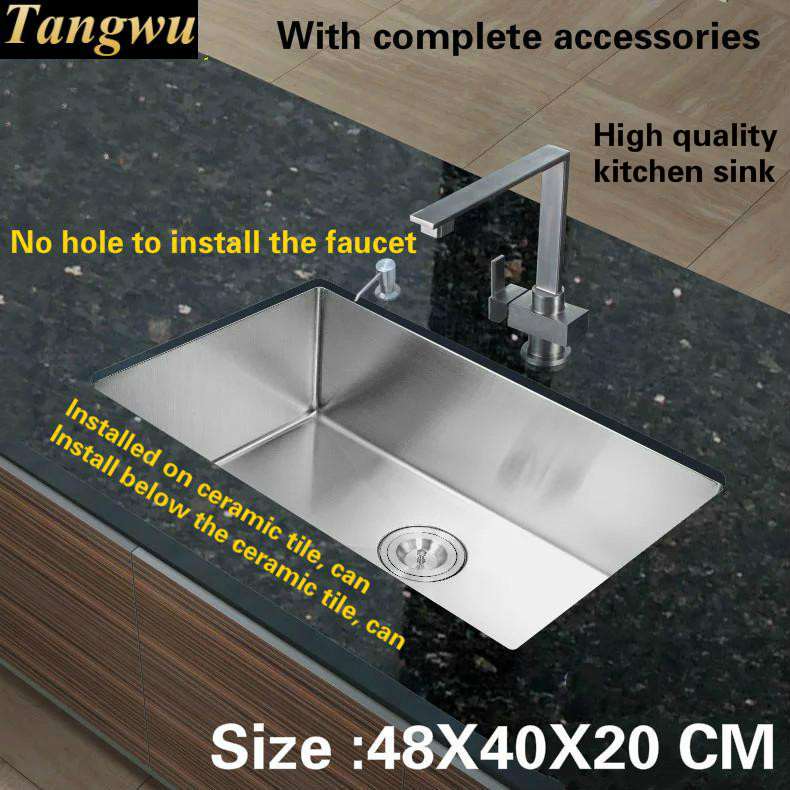 Tangwu High-grade food grade 304 stainless steel 1.2 MM kitchen sink  handmade small single slot 48X40/68X43X20 CM free shipping food grade 304 stainless steel hot sell kitchen sink double trough 0 8 mm thick ordinary 78x43 cm