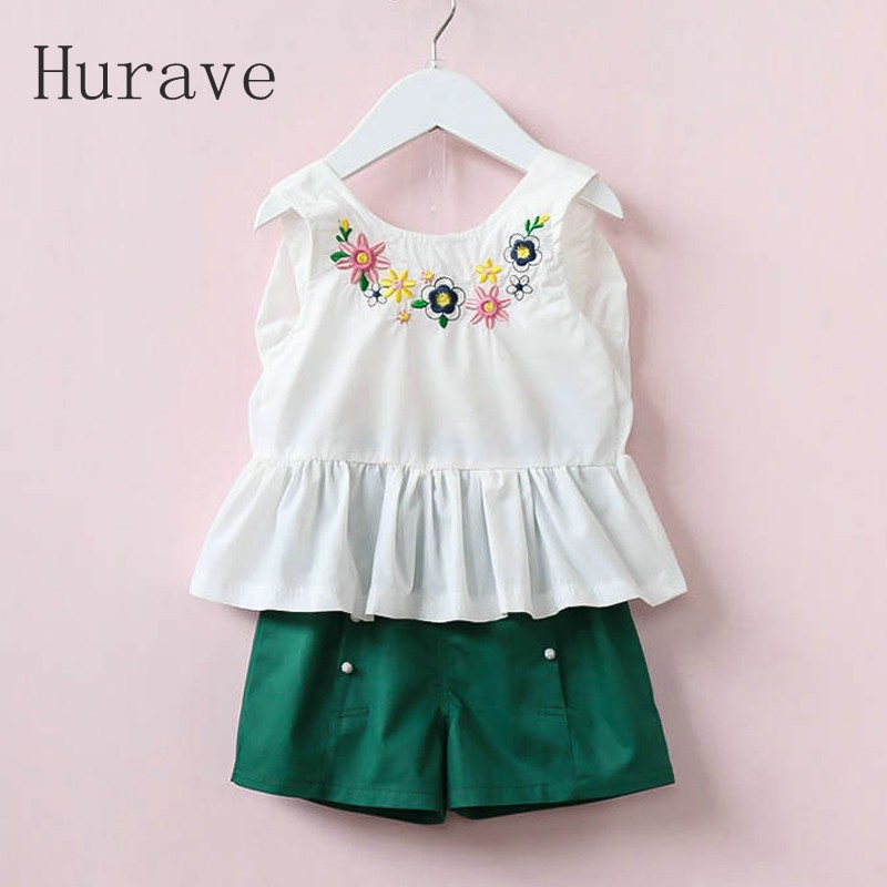 Hurave 2017 New Summer Girls Clothing Floral Embroidery Sets Kids Clothes Cotton Lace Shirts + Short For Girl Children Clothing