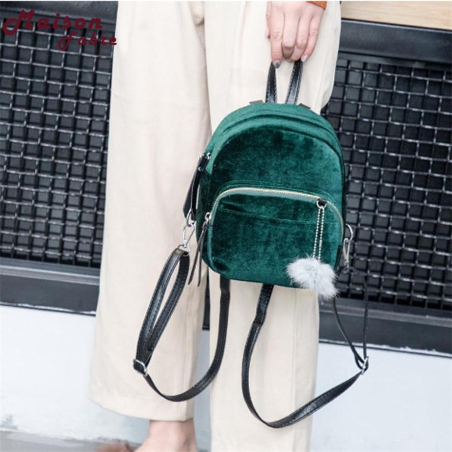 New Mini backpack female 1PC Fashion Fur Ball Backpack Retro Shoulder Bag Solid Women Girls Small Backpacks Travel School Bags