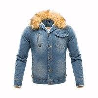 2018 Men Clothing, New Korean Version Of The Men's Slim Thick Denim Jacket Plus Velvet Disassembly Collar Blouse Coat
